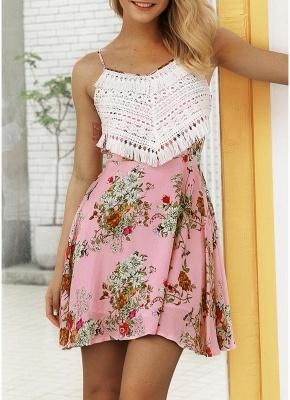 Modern Women Floral Tassels Mini Dress Tie Back Backless Party Beach Dress_2