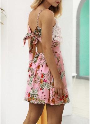 Modern Women Floral Tassels Mini Dress Tie Back Backless Party Beach Dress_8