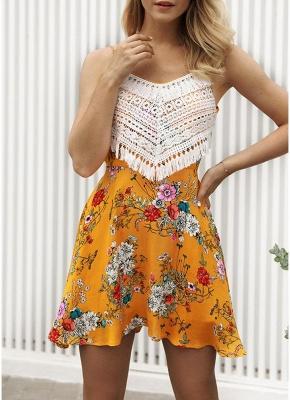 Modern Women Floral Tassels Mini Dress Tie Back Backless Party Beach Dress_3