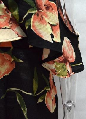 Summer Cold Shoulder Flower Print Irregular V Neck Women's Dress_7