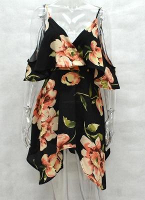 Summer Cold Shoulder Flower Print Irregular V Neck Women's Dress_4