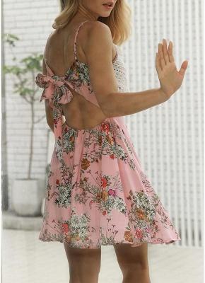 Modern Women Floral Tassels Mini Dress Tie Back Backless Party Beach Dress_7