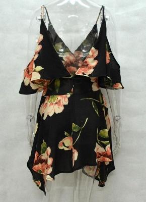 Summer Cold Shoulder Flower Print Irregular V Neck Women's Dress_5