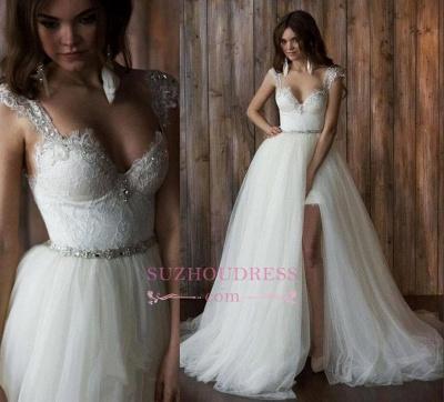 Crystals Overskirt Tulle V-neck Detachable Bridal Dresses Cap Sleeve Belt  Wedding Dresses_1