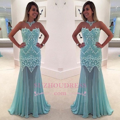 Sexy Appliques High Neck Evening Dress Sleeveless Lace Mermaid Prom Dress_1