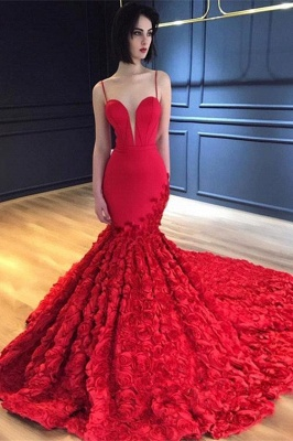Luxury Red Flowers Mermaid Gorgeous Prom Dresses  | Sexy Spaghetti Straps Backless Evening Dress_1