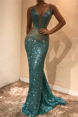 Shiny Sequins V-neck  Prom Dresses  | Appliques Sleeveless Sexy Evening Gown_1