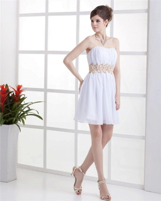 White Cocktail Dresses  Strapless Sleeveless Gold Beading Sash Short Chiffon Zipper Homecoming Gowns With Sequins_4