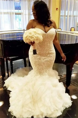 Stylish TieScarlet Ruffles Tulle Wedding Dresses with Court Train Sweetheart Fit and Flare Lace Bridal Gowns Online_1
