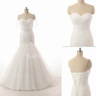 Elegant Simple White Sweetheart Bridal Gown  New Arrival Sexy Mermaid Long Wedding Dress_5