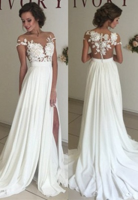 Short Sleeve A-Line Chiffon Summer Wedding Dresses Split Lace Applique Beach Bridal Gowns BA3033_6