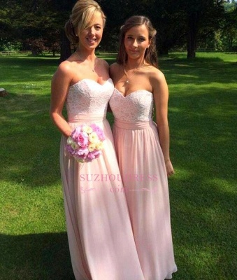 Sweetheart Ruched Lace Appliques Chiffon Bridesmaid Prom Dresses_1
