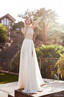 Halter Chiffon Lace Prom Dress with Gold Belt Chiffon Long Evening Dress BA1602_2