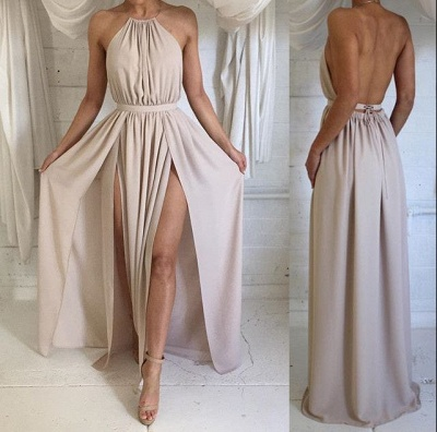 Halter Front Spilt Backless Evening Gowns Sexy  Summer Party Dresses_3