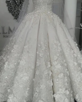 Sheer Tulle Flowers Wedding Dresses with Beading 2019 Sleeveless Crystal Bridal Gowns Online_6
