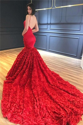 Luxury Red Flowers Mermaid Gorgeous Prom Dresses  | Sexy Spaghetti Straps Backless Evening Dress_3