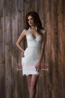 Crystals Overskirt Tulle V-neck Detachable Bridal Dresses Cap Sleeve Belt  Wedding Dresses_3