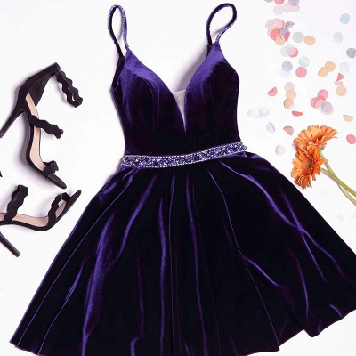 Simple A-line Spaghetti Straps Homecoming Dresses  Velvet Crystal Hoco Dress BA7062_2