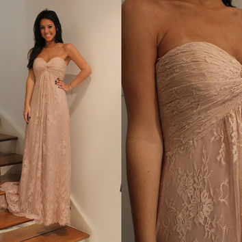 Lace Ruffle Sweetheart Bridesmaid Dresses Sweep Train Strapless Empire Prom Dresses_3