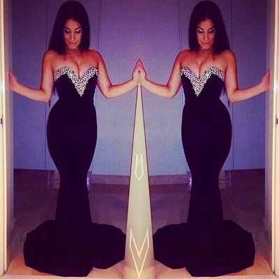 Crystal Sweetheart Mermaid Evening Dress Black Sweep Train  Formal Occasion Dresses_3