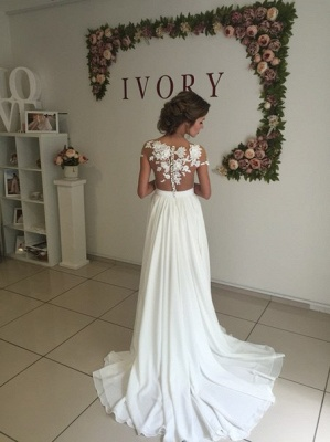 Short Sleeve A-Line Chiffon Summer Wedding Dresses Split Lace Applique Beach Bridal Gowns BA3033_4