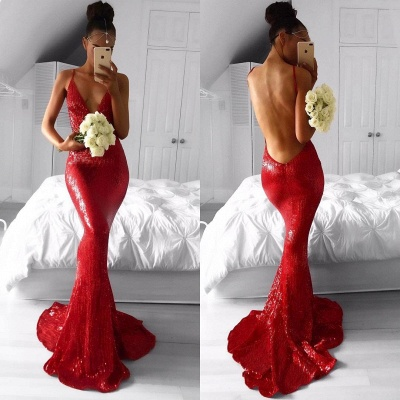Sexy Red Deep V-Neck Mermaid Prom Dresses  Backless Sequined Evening Gowns BA7966_3