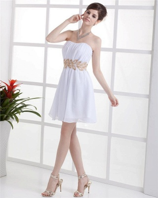 White Cocktail Dresses  Strapless Sleeveless Gold Beading Sash Short Chiffon Zipper Homecoming Gowns With Sequins_3