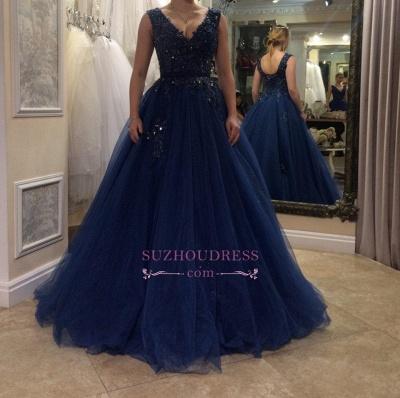 Floor Length Applique  Plus Size Prom Dress Tulle A-line V-neck Beading Evening Dress BA5493_1