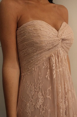 Lace Ruffle Sweetheart Bridesmaid Dresses Sweep Train Strapless Empire Prom Dresses_2