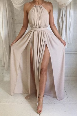 Halter Front Spilt Backless Evening Gowns Sexy  Summer Party Dresses_1