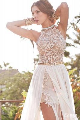 Halter Chiffon Lace Prom Dress with Gold Belt Chiffon Long Evening Dress BA1602_1