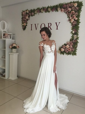Short Sleeve A-Line Chiffon Summer Wedding Dresses Split Lace Applique Beach Bridal Gowns BA3033_3