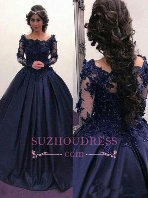 Elegant Dark Navy Long Sleeves Evening Dresses |  Off the Shoulder Ball Gown Prom Dresses_3