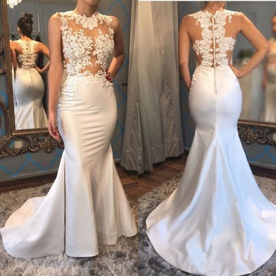 Floral Lace Appliques Mermaid Evening Dress Sleeveless Sheer Sexy Prom Dress  FB0073_3