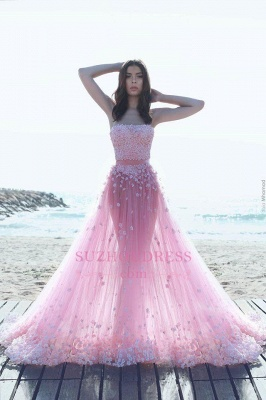 Strapless Glamorous Pink Evening Gowns  Flowers Appliques A-Line Tulle Prom Dresses_1