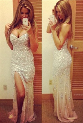 Sexy Sparkly Prom Dresses  Sweetheart Sequined Side Slit Sweep Train Mermaid Evening Gowns_1