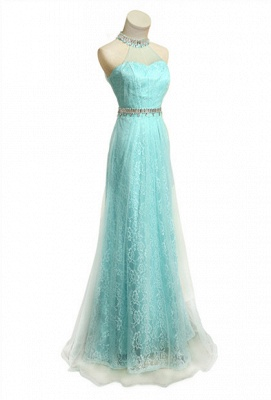 Lace Halter Crystal  Prom Gowns Floor Length Sexy Wonderful Evening Dresses_1
