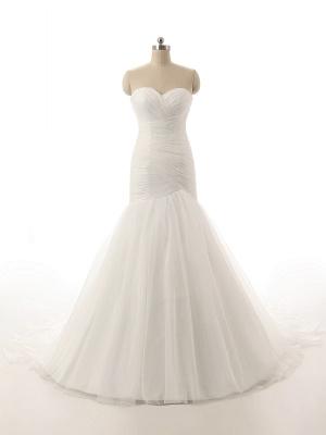 Elegant Simple White Sweetheart Bridal Gown  New Arrival Sexy Mermaid Long Wedding Dress_1