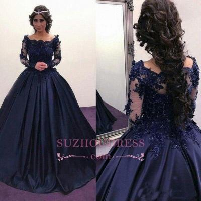 Elegant Dark Navy Long Sleeves Evening Dresses |  Off the Shoulder Ball Gown Prom Dresses_4