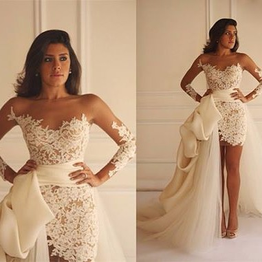 Long Sleeve Lace Short Bridal Gown with Detachable Train New Arrival Wedding Dress_4