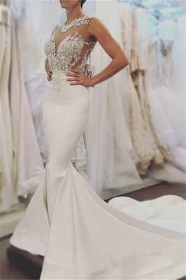 Elegant Mermaid Sleeveless Wedding Dresses  |  Open Back Lace Wedding Dress Online_1