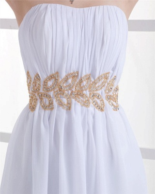 White Cocktail Dresses  Strapless Sleeveless Gold Beading Sash Short Chiffon Zipper Homecoming Gowns With Sequins_2