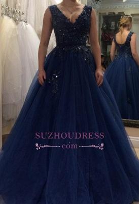 Floor Length Applique  Plus Size Prom Dress Tulle A-line V-neck Beading Evening Dress BA5493_2