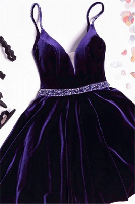 Simple A-line Spaghetti Straps Homecoming Dresses  Velvet Crystal Hoco Dress BA7062_1