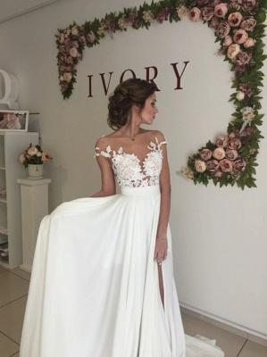 Short Sleeve A-Line Chiffon Summer Wedding Dresses Split Lace Applique Beach Bridal Gowns BA3033_5