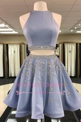 Crystal A-line Gorgeous Sleeveless Two-Pieces Short Homecoming Dress_1