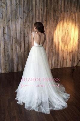 Crystals Overskirt Tulle V-neck Detachable Bridal Dresses Cap Sleeve Belt  Wedding Dresses_6