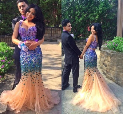 Sexy Mermaid Crystal Evening Gowns Spaghetti Strap Two Piece  Prom Dresses AE0110_3