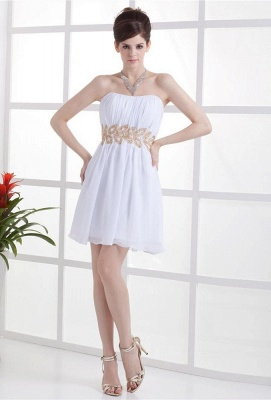 White Cocktail Dresses  Strapless Sleeveless Gold Beading Sash Short Chiffon Zipper Homecoming Gowns With Sequins_1