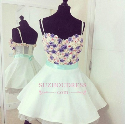 Mini Lovely Flowers Spaghetti Straps Colorful  Homecoming Dresses_3